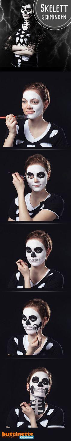 Schminktutorial Skelett im buttinette Faschingsblog: http://blog.buttinette-fasching.com/halloween/halloween-schminkanleitung-skelett/  #Halloween #Skull #Makeup #Tutorial #Schminkanleitung #Skelett #Totenkopf #schminken