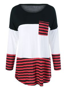 Striped One Pocket High Low T-Shirt