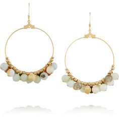 Kenneth Jay Lane Gold-plated beaded earrings ($23) ❤ liked on Polyvore featuring jewelry, earrings, mint, gold plated jewellery, beading jewelry, mint jewelry, bead jewellery and mint green earrings