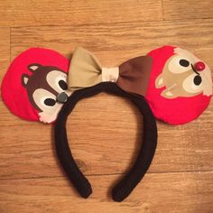 Chip & Dale Mickey Ears, Chip and Dale Disney Inspired Ears Diy Disney Ears, Disney Mickey Ears, Mickey Mouse And Friends, Disney Diy, Disney Trips, Disney Stuff, Disney Land, Disney Cruise, Chip And Dale