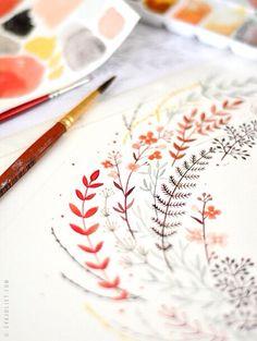 Watercolour floral detail
