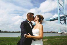 Pete and Kristina Groom Kissing His Bride Ambassador Bridge Canada Blue skies Curescu Wedding Photography Ontario Photographer Windsor Photographer Kissing Him, Blue Skies, Windsor, Ontario, Bridge, Groom, Wedding Photography, Canada, Sky
