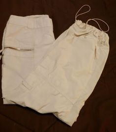 Xhilaration safari cargo ivory wrinkle free pants flap & zipped 6 pockets  SZ 7 #Xhilaration #Cargo