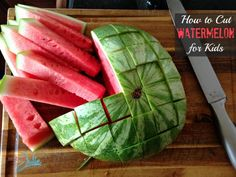 After years of brushing dirt off the container of watermelon, finally I've found how to cut a watermelon for kids! This is simple and perfect for children.