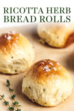 Ricotta Herb Bread Rolls are amazingly soft, tender, and pillowy in texture with tons of rich and earthy flavors. These are bound to become a family favorite! Herb Rolls Recipe, Dinner Rolls Recipe, Yeast Rolls, Bread Rolls, Egg Rolls, Ricotta, Dinner Bread, Herb Bread, How To Make Bread