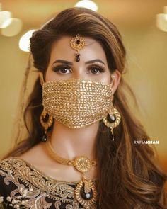 Here is First Bridal Corona Photoshoot Mouth Mask Fashion, Fashion Face Mask, Stylish Girl Images, Stylish Girl Pic, Wedding Wear, Wedding Shoot, Bridal Portrait Poses, Bridal Poses, Bridal Mask