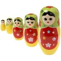 Wooden Russian Dolls - Red