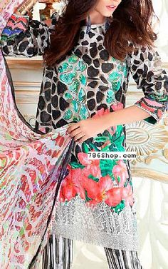 Black/Grey Lawn Suit | Buy Charizma Eid Collection Pakistani Dresses and Clothing online in USA, UK