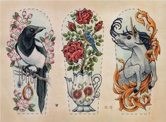 1. raven crow collects shiny sparkly things 2. teapot boils over into flowers and a bird 3. unicorn in gold abstract movement half sleeves thigh tatts or side pieces For the raven