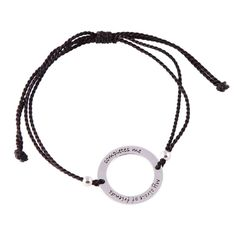 """Sterling silver circle bracelet on adjustable black silk cord. """"My circle of friends completes me"""" Thread Bracelets, Positive Messages, Silk Thread, Black Silk, Special Friends, Personalized Items, Sterling Silver, Cord, Poetry"""