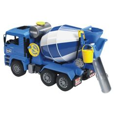 Bruder Toys MAN Cement Mixer:  This one's a keeper to.  As you turn the little wheel, water comes out of the chute ... great outdoor fun.  This is a big, light weight but sturdy truck.  A great addition to the collection.  Eric's had it for about a year and can still find the bucket!  He's 3 1/2.