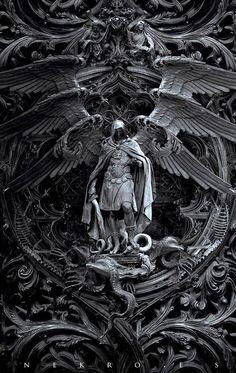 "The art of Nekro - photomanipulation - Archangel Michael kills Satan; titled, ""Three circles of hell"" Dark Fantasy Art, Dark Art, Final Fantasy, Archangel Tattoo, Archangel Azrael, Art Noir, Arte Obscura, Occult Art, Biblical Art"