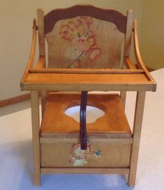 Antique Vintage Potty Toilet Training Chair Seat Decals Beads Leather Strap Trim<br/>Post-1950 - 156311