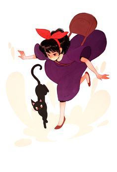 bag black eyes black hair cat dress full body hair ribbon hairband highres jiji (majo no takkyuubin) jisoo kim kiki majo no takkyuubin purple dress ribbon slippers smile studio ghibli - Image View - Art Studio Ghibli, Studio Ghibli Movies, Hayao Miyazaki, Totoro, Film Animation Japonais, Le Vent Se Leve, Super Heroine, Kiki Delivery, Kiki's Delivery Service