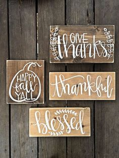 Fall Signs Gather Sign Blessed Sign Happy by SalvagedChicMarket