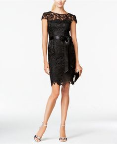 Adrianna Papell Lace Cap-Sleeve Illusion Sheath Dress   #newyearseve #newyearsdress  #goingout #outfit #NYE #datenight #datenightoutfit #sequence #partydress #weddingdress #elegent #blackdress #newyearseveoutfit #nyeoutfit #ad #ss