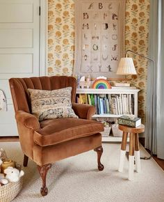"""Becca Interiors on Instagram: """"Pretty little details in the reading corner of a sweet little girl's nursery in our #HudsonRiverColonial project #BeccaInteriors 📷 by…"""" Pretty Little, Little Girls, Wingback Chair, Kids Room, Room Inspiration, Nursery, Accent Chairs, Projects, Kids Decor"""