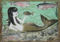 Modern-Wide-Linen-Beach Theme-P25-Mermaid With Pet Fish-Swap Playing Card