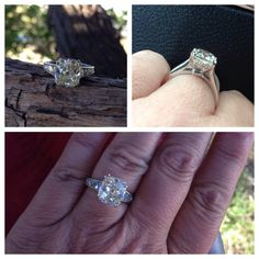 Tapered French cut setting with an antique cushion cut diamond center by David Klass Jewelry.