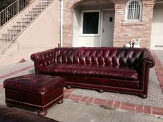 Real Leather Vintage tufted couch with Brass Rivets Vintage Lawyer Dr. - $1200 (marina / cow hollow)