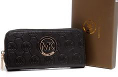 Michael Kors Monogram Circle Logo Leather Purses Black