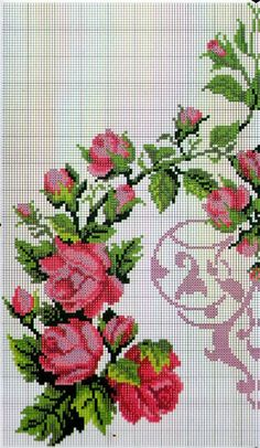 This Pin was discovered by Ays Cross Stitch Rose, Cross Stitch Borders, Modern Cross Stitch Patterns, Cross Stitch Flowers, Cross Stitch Kits, Cross Stitch Designs, Cross Stitching, Diy Embroidery, Cross Stitch Embroidery