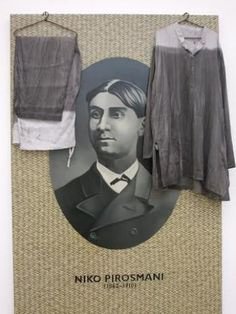 this is Atul Dodiya portrait of Niko Pirosmani who was selected as one of the most popular and sought after contemporary Indian artists.