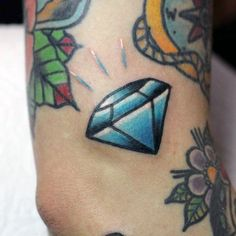 Small Outer Arm Traditional Diamond Filler Guys Tattoo
