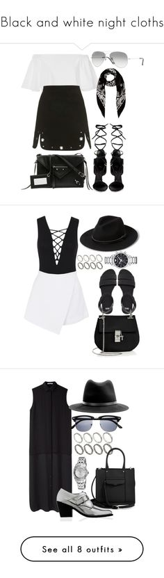 """Black and white night cloths"" by blendingtwostyles ❤ liked on Polyvore featuring TIBI, Topshop, Giuseppe Zanotti, Balenciaga, Ray-Ban, Yves Saint Laurent, Miss Selfridge, BeginAgain Toys, MANGO and ASOS"