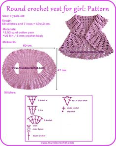 Round crochet vest for girl-free pattern. I know exactly who is going to get…