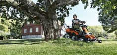 The combination of control, comfort and efficiency will not only make your work easier – you'll also enjoy the ride. It's hard to find places where a Husqvarna Rider isn't able to reach. Thanks to a wide range of attachments and a built-in choice of cutting methods, your ride-on mower will enable you to do all kinds of work. It's ideal for efficient lawn care and various tasks around your land all year round.