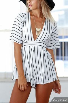 Add this romper into your closet. It is adorned with v-neck, 1/2 length sleeves, stripe pattern self-tie back and pleated details. Pair it with your heels.