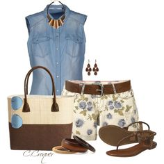 """""""Light Denim Shirt"""" by ccroquer on Polyvore"""