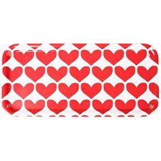 Retro heart print on wooden tray, size 32 x 15 cm.