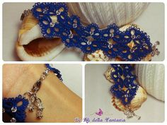Tatted handmade bracelet with Swarovski by LeAlidellaFantasia