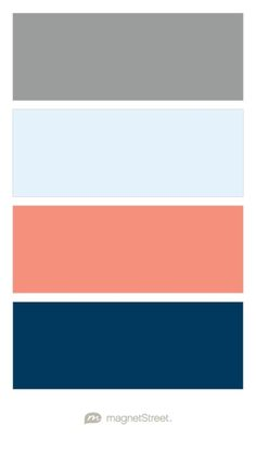Classic Gray, Ice, Coral, and Navy Wedding Color Palette - custom color palette created at MagnetStreet.com