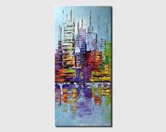 Original Contemporary Modern fine Art by Osnat. Abstract City painting with texture impasto to create a palette knife painting. Detailed images of Seascape Paintings, Oil Painting Abstract, Acrylic Painting Canvas, Canvas Art, Acrylic Art, Art Paintings, Abstract City, Blue Abstract, City Painting