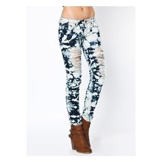 bleached destroyed skinny jeans ($37) ❤ liked on Polyvore