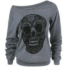 Skull Print Skew Collar Plus Size Sweatshirt (42 BRL) ❤ liked on Polyvore featuring tops, hoodies and sweatshirts