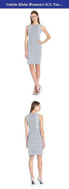 Calvin Klein Women's S/L Textured Dress W/ Side Blocking, Twilight, 12. Sleeveless mixed jacquard sheath dress with hardware.
