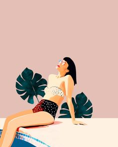 Sunday wallpaper from Happywall happywall wallmurals woman swim beauty pool wallmural swimming wallpapers fashion wallpaper sunbath tan 842454674027697296 Art And Illustration, Illustrations, Watercolor Illustration, Image Deco, Fashion Wallpaper, Wallpaper Art, Affinity Designer, Guache, Poster S