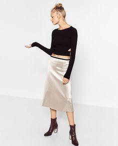 ZARA SATEEN MIDI SKIRT Silver NWT. Straight cut skirt. Mid length. Contrasting stretch waist. 100% polyester. 95% polyester.   eBay!