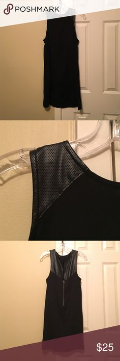 Urban Outfitters black leather/mesh dress Black flowy, but sort of fitted, dress with a mesh-like leather material on the shoulder and down the upper back. Zipper and clip in the back. Comes to about mid thigh (I'm 5'4) silence + noise Dresses Mini