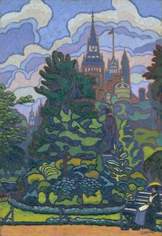 Charles Ginner Victoria Embankment Gardens London 1912 - one of the Camden Town Group