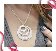 Affordable personalized Jewelry for Mother's Day: Circle name necklace
