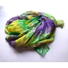 Scarf silk yellow green purple scarf handmade only. gift for womans,... via Polyvore featuring accessories, scarves, silk shawl, purple silk scarves, silk scarves, pure silk scarves and purple scarves