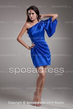 Womanly One Shoulder Royal Blue Column Party Dress For Cocktails
