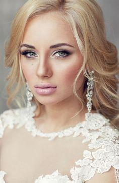 soft smokey eye, pale pink lip and loose bridal waves  ~  we ❤ this! moncheribridals.com: