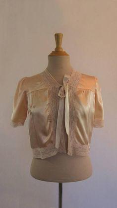 Vintage Lingerie  Vintage Jacket  Silk Satin Bed Jacket With