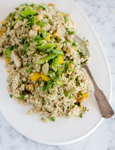 Lunch Recipe: Fried Brown Rice with Asparagus, Bell Pepper & Cashews
